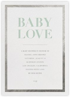 For Baby, with Love - Silver/Mint - Paperless Post
