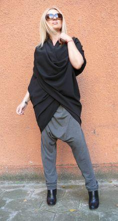 New Collection / Black Loose Tunic / Comfortable Black Top /  Maxi Black Oversize Tunic / by Orenda Premier