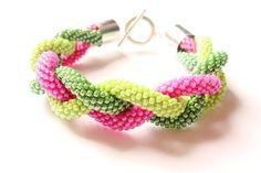 Beaded Crochet Rope Bracelet Green and Pink IneseLoft by IneseLoft, £15.00