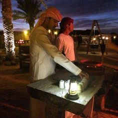 We were greeted by a gentleman who sprinkled rose water on our hands … and then another happy gent who offered us traditional Arabian coffee.  #desert #safari #dubai