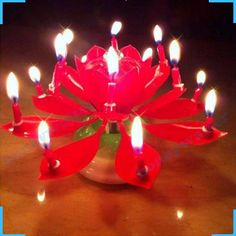3pcs Birthday Rotating Musical Lotus Flower Blossom Candle Cake Scented Candles Lamp Geburtstag Kerze Bougies Party Decor