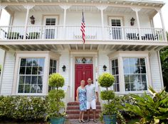 "Colleen Rinaldi, left, and John Rinaldi show the Sabal Palm House Bed and Breakfast Inn to guests participating in the Museum of Lifestyle & Fashion History's (MLFH) ""Taste History Culinary Tours of Historic Palm Beach County."" The tour visits restaurants, eateries, cafes and markets in historic districts, areas and/or buildings and travels to Delray Beach, Boynton Beach, Lake Worth and Lantana. (Photo by Kara Starzyk)"
