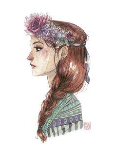"""""""Estaciones"""" es una ilustración a acuarela de la ilustradora Esther Gili.  """"Ella llevaba el otoño en el pelo y lo adornaba de primavera, se vestía de mar de verano y tenía el invierno en la mirada.""""  Tirada numerada de 300 ejemplares."""