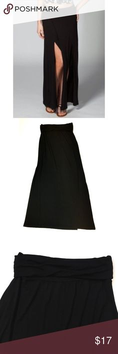"""Full Tilt high side slot maxi skirt black Size Small - Full Tilt - Black fold over waist maxi skirt with high side slits. Front and back are even in width. Slits are on each side.  *similar style shown in stock photo, but not exact* Waist laying flat measures 12"""" across and has plenty of stretch. Length 38"""" (with waist folded over). In excellent condition Full Tilt Skirts Maxi"""
