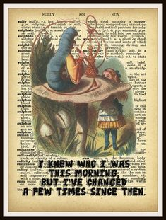 "Alice in Wonderland Caterpillar Vintage Art Print on Ephemera Dictionary Book Page Background, 8 x 10"""