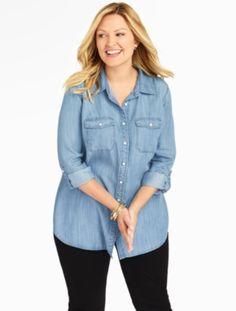 Patch-Pocket Denim Shirt - Marina Wash - Talbots