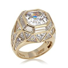 Jean Dousset 14.42ct Absolute™ Asscher-Cut Vermeil Cage Ring | Great design... real gemstones would make it perfect