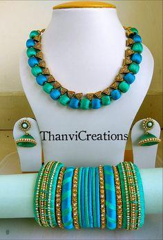 Neckset Silk Thread Earrings Designs, Silk Thread Bangles Design, Silk Thread Necklace, Silk Bangles, Beaded Necklace Patterns, Bridal Bangles, Thread Jewellery, Textile Jewelry, Fabric Jewelry