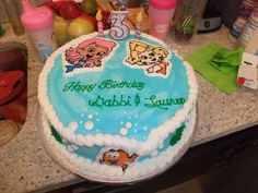 Bubble Guppies Birthday Cake with Buttercream Frosting and Frozen Transfers.