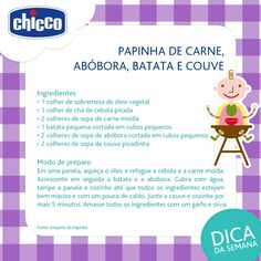 Que fominha mamãe!! Que tal uma papinha super nutritiva?! Papa Baby, Baby Kids, Baby Food Recipes, Healthy Recipes, Baby Care, Kids And Parenting, Kids Meals, Cool Kids, Meal Planning
