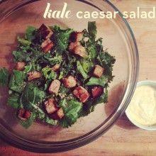 Vegan kale ceaser salad