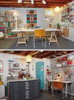Design A Studio Space You Love – Think., … – Creative Home Office Design Garage Art Studio, Basement Studio, Studio Shed, Dream Studio, Workspace Design, Home Office Design, House Design, Art Studio Design, Studio Art