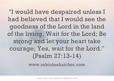 I would have despaired unless I had believed that I would see the goodness of the Lord in the land of the living. Wait for the Lord; Be strong and let your heart take courage; Yes, wait for the Lord. (Psalm 27:13-14)