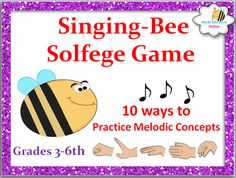 Looking for a fun way to  help your students practice melodic concepts. This game includes easy ideas to get your class reading solfege quickly. It includes:*10 ways to work on melodic concept*Exciting Melody Singing Bee Game*Easy way to quickly assessment students with games*2 Extra games to practice melodic concepts*Tic-Tac-Toe Melody Game *Sparkle Rhythm Game*Moveable Do practice cards in the Keys of C & F Major.*Melody Cards for practicing Harmony (yellow & blue cards)*Cards sets ...
