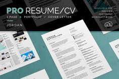 Pro Resume/CV - Template - Cover letter - Portfolio - 2 Pages - word - Photoshop - inDesign Jordan by bilmaw creative on Cv Cover Letter, Cover Letter Template, Cv Template, Letter Templates, Resume Templates, Resume Cv, Resume Design, Resume Help, Resume Tips
