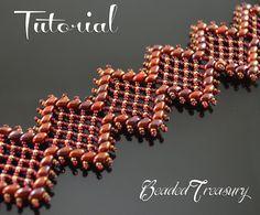 """Beaded bracelet tutorial, superduo bead pattern, beaded lace bracelet. """"Rich…"""