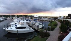 Storm clouds taking over a beautiful sunset over the marina.