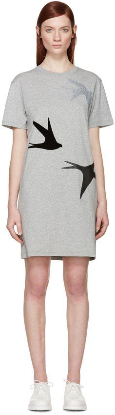 MCQ ALEXANDER MCQUEEN Grey Swallow T-Shirt Dress. #mcqalexandermcqueen #cloth #dress