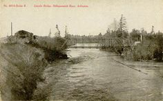 Lincoln Bridge, also known as the Highway 530 bridge, is Arlington's (WA) eastern access across the Stillaguamish River to points north on Highway 530, taking you past Arlington Heights, Trafton, Oso and onto Darrington.    This postcard image, dating from the early 1900s, shows the bridge and what appears to be the bridge's namesake on the left, Lincoln Mill, on the southern bank of the river.