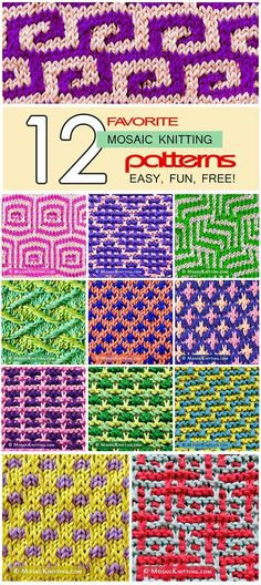 12 favorite mosaic knitting patterns. Beautiful, and very eye-catching! Update 4/2017