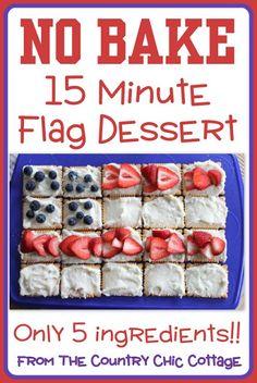 No bake, quick and easy flag dessert