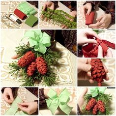 Pine cones grow on trees, here is a nice idea -- you can make pine cones of crepe paper for Christmas decoration. Check the below picture tutorial that fou