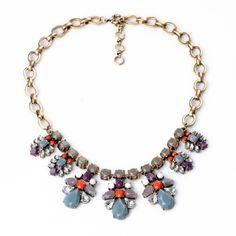 Multi-Color Stone Resin Bib Necklace