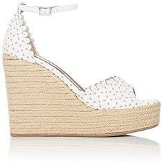 Tabitha Simmons Women's Harp Wedge Espadrille Sandals ($545) ❤ liked on Polyvore featuring shoes, sandals, wedges, heels, white, high heel shoes, platform sandals, white high heel sandals, white wedge sandals and white ankle strap sandals