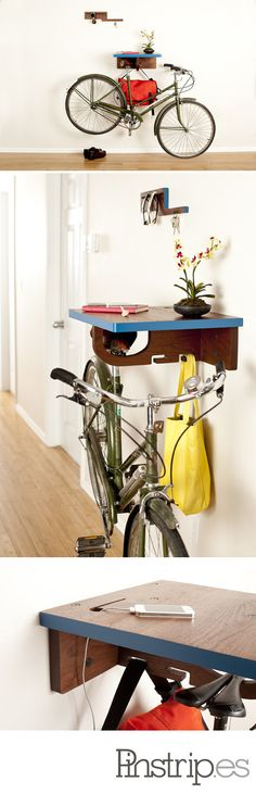 Thoughtfully designed The Bike All relies on the single component that all bikes share…a saddle (bike seat)! As the name implies we also want to help you with all that comes with a pleasant ride. Storage for your helmet, messenger bag and the shelf top has a thoughtfully designed receptacle for your cell phone/MP3 charger cord.