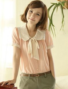 Women Casual Style Peter Pan Collar Single-Breasted Lace Insert Trim Blouse - Item 693387 at Eastclothes.com