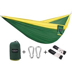 G4Free Double Camping Hammock - Portable High Strength Hammock - Lightweight Blend Color Nylon Fabric Parachute for Outdoor. Hammock Straps and Steel Carabiners include >>> Find out more details by clicking the image : Camping gadgets