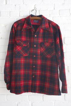 Vintage Pendleton Red and Navy Shirt