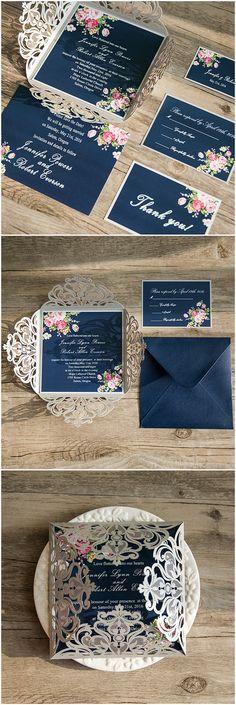 shabby chic navy blue and pink laser cut floral wedding invitations from elegantweddinginvites