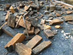 2 1/2 ton of rock now carted into the courtyard by hand