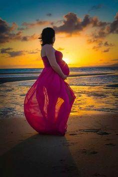 Maternity beach sunset photo