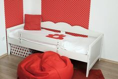 Little girl's room in red and white – Kónya Hajnalka Design Little Girl Rooms, Little Girls, Red And White, Toddler Bed, Projects, Furniture, Design, Home Decor, Child Bed