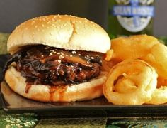 Teriyaki Steam-Whistle Burger with Onion Rings...need a sweet onion for this one!