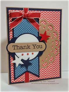 """airbornewife's stamping spot: Viva la Verve Sketch March 2015 wk 2 """"THANK YOU"""" Patriotic card"""