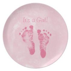 Cute Baby Girl Footprints Birth Announcement Party Plates