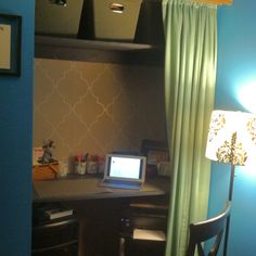 Office in a closet best way to make the most of a small room! :)