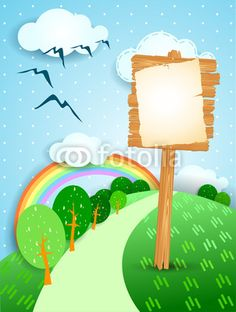 Fantasy landscape and wooden sign, #vector