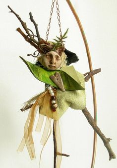Art Doll Fantasy Muse Spirit and metaphysical sculptural art Fairy Sculptural Art by FiveMuses