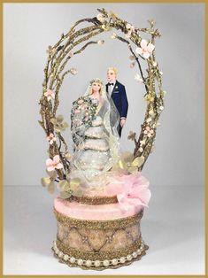 """Rose Quartz and Gold"" Vintage Garden Wedding Cake Topper and Keepsake Box Image"