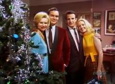 Christmas 1968, L-R: Dr. Maggie Powers (Lydia Bruce), Dr. Matt Powers (James Pritchett), Dr. Nick Bellini (Gerald Gordon) and Dr. Althea Davis Bellini (Elizabeth Hubbard).