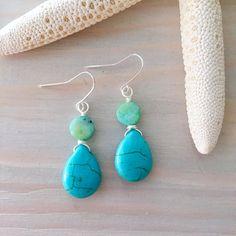 Turquoise Teardrop Earrings - Turquoise and Pearl Earrings - Turquoise Gemstone Jewelry - Blue Gemstone Earrings - Teardrop Stone Earrings
