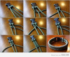 """Another pinner wrote """"I love mine! I love telling my Girl Scouts that I have 10 feet of emergency rope on my wrist, too. ;) This is a super easy project to make - it's harder to find pretty paracord."""""""