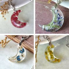 Exquisite Resin Necklaces Fuse Cosmos and Earth with Pressed Flowers in Crescent…