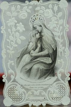 Superb french Lace Holy Card the Virgin Comforter Bouasse Lebel canivet Religious Pictures, Religious Icons, Religious Art, Vintage Holy Cards, Vintage Christmas Cards, Mary And Jesus, Hail Mary, Joseph, Catholic Saints