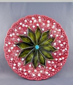 Vintage Majolica Lily-of-the-Valley plate.