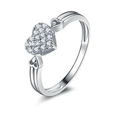 AmDxD Jewelry Silver Plated Women Promise Customizable Rings Heart CZ Size 105 *** Read more reviews of the product by visiting the link on the image.